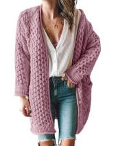 Imily Bela Womens Cable Knit Button Down Long Cardigans Fall Chunky Oversized Open Front Pocket Sweaters Coat