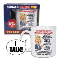 Donald Trump Talking Coffee Mug FOR DAD - Simply Lift Mug to Hear POTUS Deliver a Personal Greeting to Your Father – Says 5 Lines - Trump's REAL VOICE – Fun Trump Gift - Funny Coffee Mugs for Men