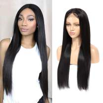 """1B Brazilian Straight Hair Lace Closure Wigs for Black Women, 100% Unprocessed Human Hair 4x4 Inch Lace Front Wig with Baby Hair, 250% Density Wigs (12"""", 1B, 250%)"""