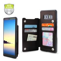 Gear Beast Top Grain Genuine Leather Protective Top View Slim Wallet Case Fits Galaxy Note 8 Includes Flip Folio Cover, with Five Card Slots Including Transparent ID Holder