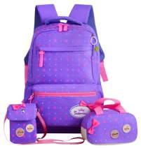 JiaYou Girls Cute Lunch Bag Purse/Pencil Bag School Backpack 3 Sets(24L,2# Purple)