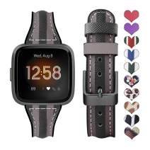 Supoix Bands Compatible with Fitbit Versa/Versa 2/Versa Lite, Genuine Leather Silicone Quick Release Replacement Sport Wristband Strap Accessories for Fitbit Versa Smartwatch-Black&Gray