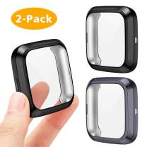 EZCO Screen Protector Case Compatible with Fitbit Versa 2 (Not for Versa/Versa Lite), 2-Pack Plated Soft TPU Case Full Coverage Screen Protector Cover Bumper for Versa 2 Smart Watch