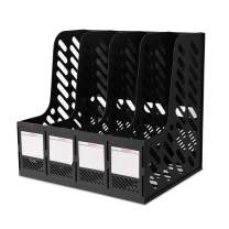 WITERY Plastic Magazine Holders Desktop Organizer 4 Section in-Baskets File Dividers Document Cabinet Rack Display and Storage Box Black Compartment Sturdy Vertical Holder(Black)