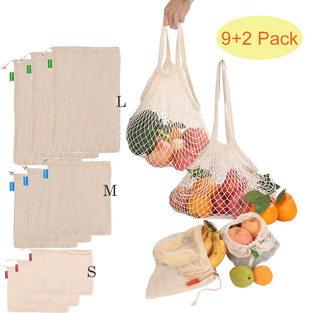 Reusable Produce Bags, Organic Cotton Mesh Bags for Grocery Shopping and Storage ,Machine Washable, Biodegradable, Eco-Friendly(11 Pack/2 Pack) (11)