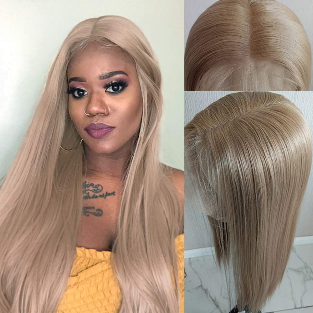 Lovigs Hair 13x6 Glueless Lace Front Wigs Heat Resistant Kanekalon Fiber Synthetic Hair Real Natural Straight Wigs for Women-100% Stylish Blond Wigs (Color 103# Blonde 22 Inch)