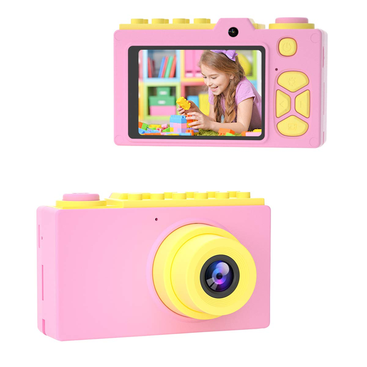 Children's Day Gifts, Kids Camera Gifts for Girls Boys 4-12 Years Old Children Selfie Digital Cameras HD 1080P Mini Video Camera for Birthday Party Home Indoor Play with SD Card (Pink)