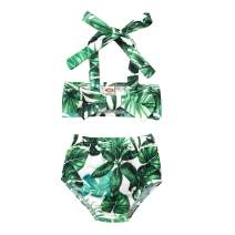 Toddler Baby Girls Bikini Swimsuit Set Sunflower/Green Leaves Two Piece Bathing Suit Halter Top Summer Suit