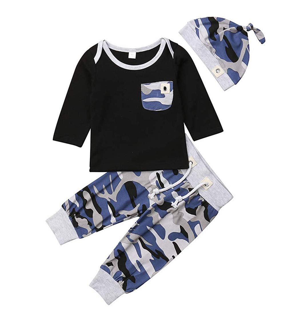 Newborn Infant Baby Boy Casual Top T-Shirt+Camo Pants Beanie Hat Outfit Clothes Set 0-24M