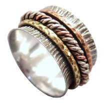Energy Stone Traveler Tri-Color Meditation Spinning Ring Sterling Silver Base Ring with Brass and Copper Cable Spinners (Style USA38)
