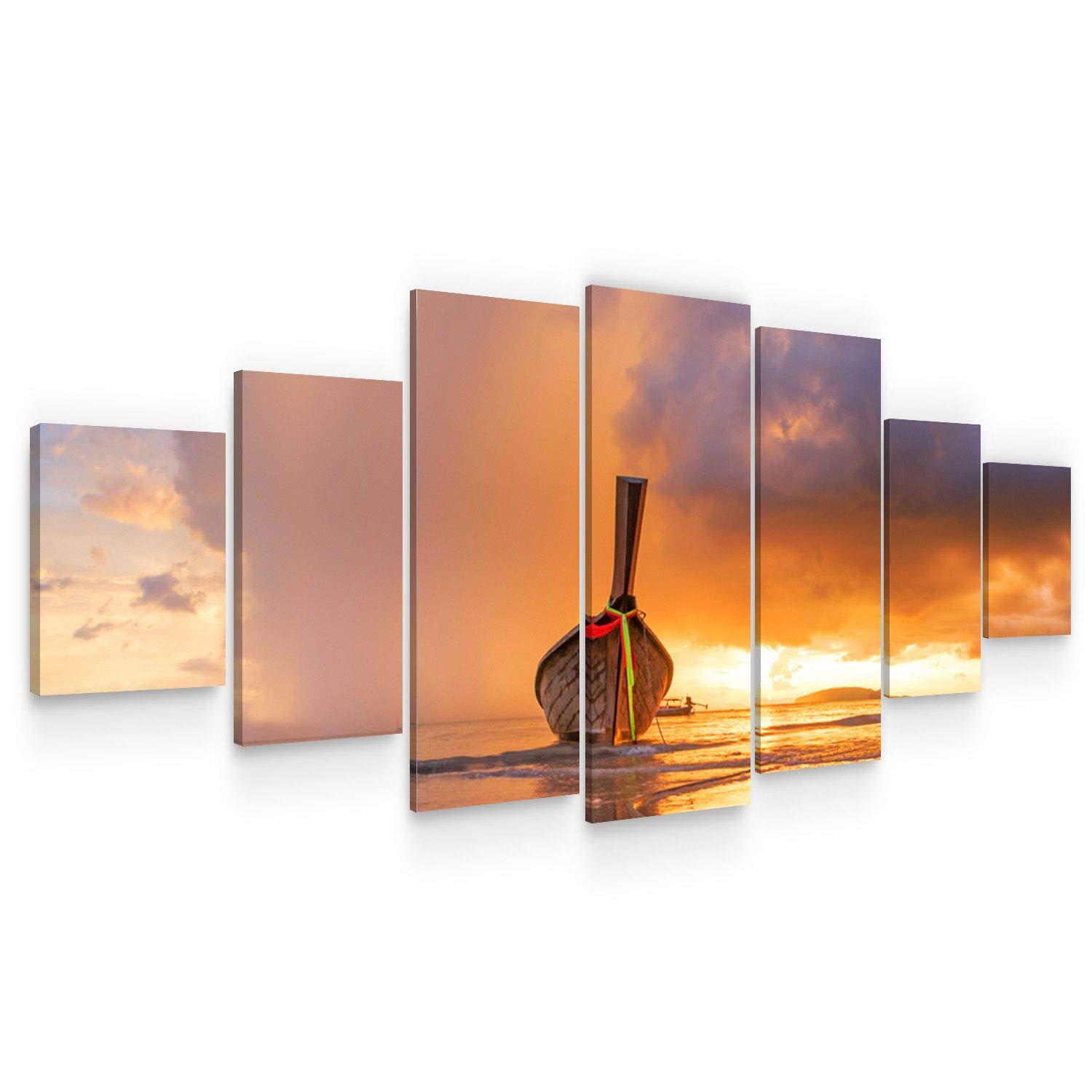 Startonight Large Canvas Wall Art Beach - A Boat at Sunset - Huge Framed Modern Set of 7 Panels 40 x 95 Inches