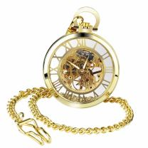 Golden Open Face Pocket Watch Steampunk Skeleton Mechanical Hand Winding for Men Women with Chain + Box