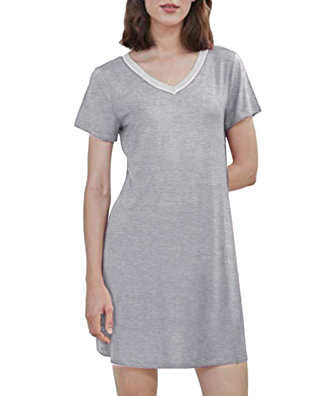 SUNNYME Womens Summer Nightgowns Short Sleeve Pleated Sleepshirts Short Nightshirts with Pockets Soft Sleepwear Gowns