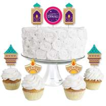 Big Dot of Happiness Happy Diwali - Dessert Cupcake Toppers - Festival of Lights Party Clear Treat Picks - Set of 24