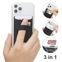 TUZAMA New 3 in 1 Cell Phone Stick On Wallet Card Holder Sleeve -Finger Strap Phone Holder+Double Pocket +Magnetic -for iPhone 11, XR Galaxy, Android, Mobile Smartphones & Any Phone