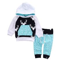 Toddler Infant Baby Boys Deer Long Sleeve Hoodie Tops Sweatsuit Pants Outfit Set (6-12Months, Sky Blue)