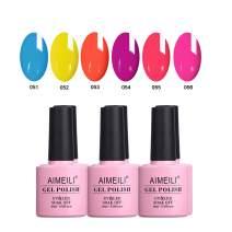 AIMEILI Gel Nail Polish Soak Off UV LED Gel Nail Lacquer Combo Color Set Of 6pcs X 10ml - Kit Set 11