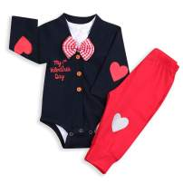 Baby Boys My First Valentine's Day Outfit Infant Boy Bow Tie Bodysuit Romper + HeartPants Clothes 3Pcs Sets