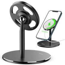 Adjustable Stand for MagSafe Wireless Charger, Aluminum Desktop Phone Stand Holder Dock Compatible with MagSafe Charger for iPhone 12,12 Mini,12 Pro,12 Pro Max (Black)