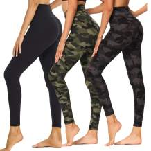 Fotociti High Waisted Printed Leggings for Women - 3 Pack Soft Stretch Tummy Control Pants for Running Cycling Workout Yoga