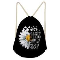 doginthehole Sunflower Print Drawstring Backpack Gym Sack Pack for Women Girls,Lightweight String Bag Beach Travel Cinch Bags