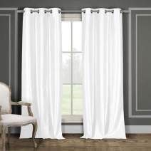 "Duck River Textiles Bali Faux Silk Grommet Top Window Curtain Drapes For Bedroom, Livingroom, Kids Room, Children, Nursery - Assorted Colors - Set of 2 Panels, 38""W x 84""L, White, 2 Piece"