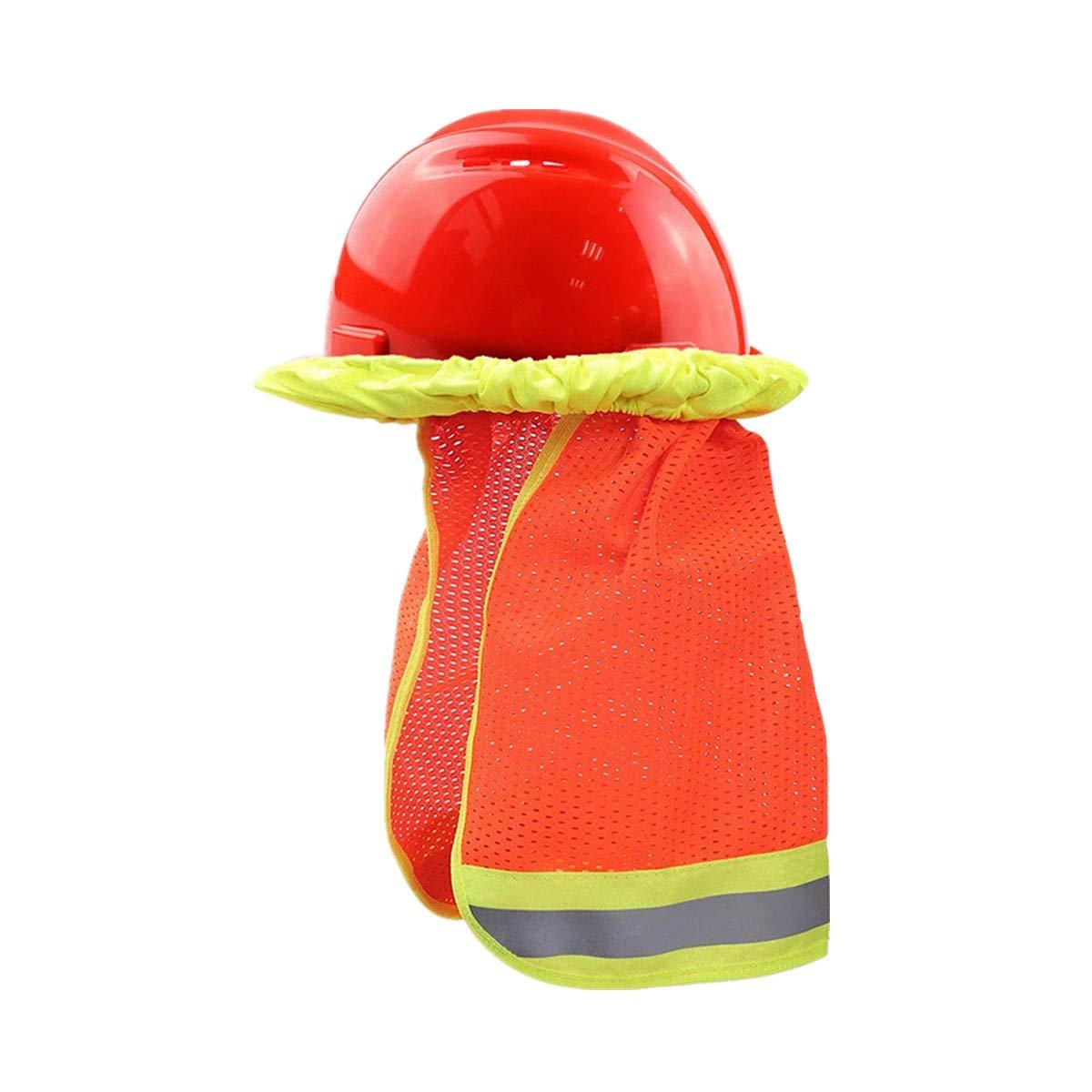 XIAKE 2 Pck Hard Hat Sun Shield Full Brim Mesh Neck Sunshade W Reflective Yellow