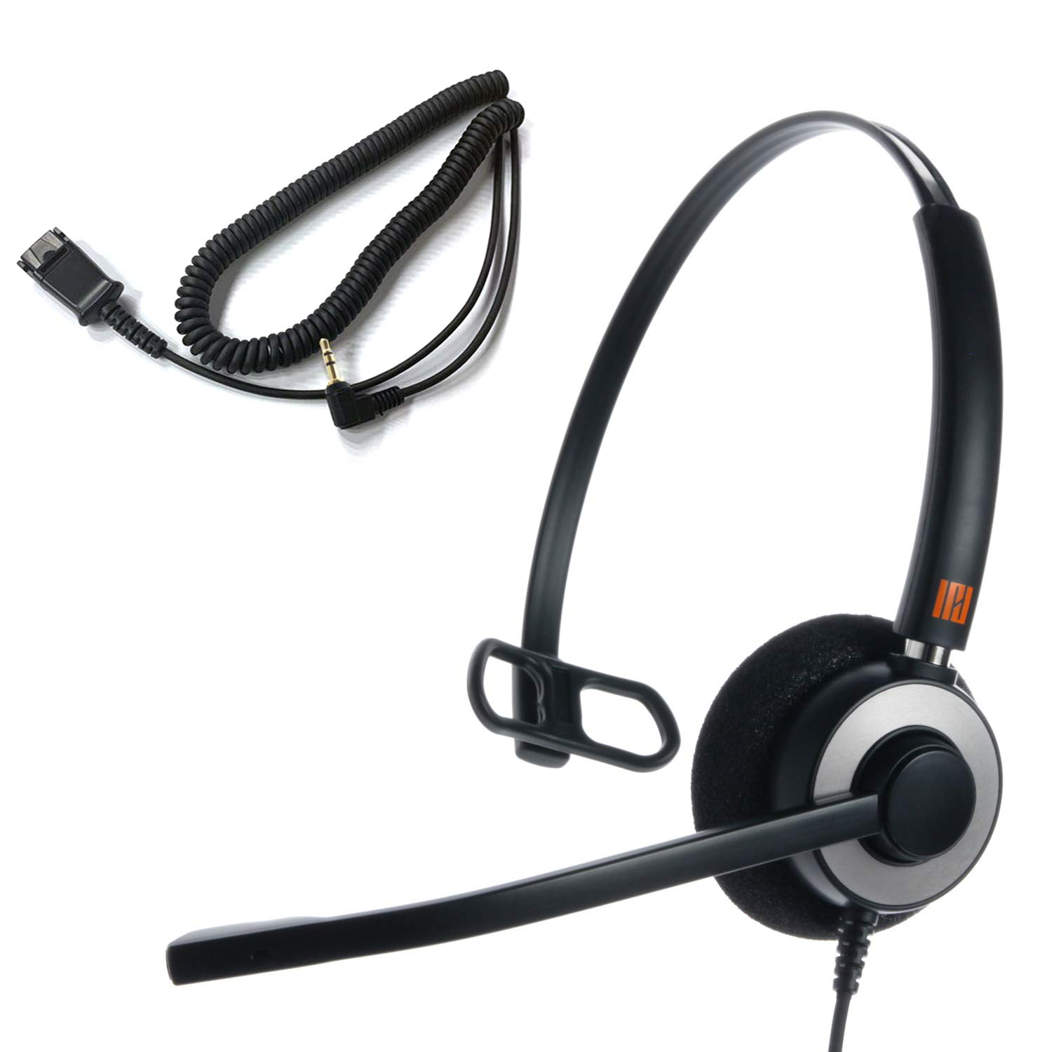 IPD IPH-160 Monaural NC Headset with 2.5mm Jack for Ciso SPA, Polycom IP 320,321,330,Panasonic KX and Other Cordless Headset with 2.5mm Headset Jack Port with Phones. No Smart Phone use.