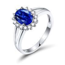 Lanmi 14K White Gold Natural Blue Sapphire Diamonds Ring Engagement Wedding Band for Women