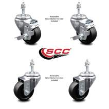 """Soft Rubber Swivel Threaded Stem Caster Set of 4 w/3.5"""" x 1.25"""" Black Wheels and 3/8"""" Stems - Includes 2 with Top Locking Brake - 800 lbs Total Capacity - Service Caster Brand"""