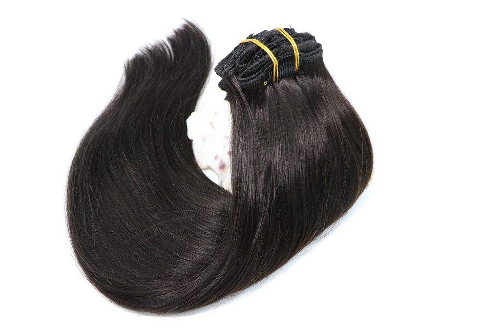 """Clip in Real Hair Extensions Natural Black 120G 7pcs Double Weft Remy Hair Clip in Extensions 100% Human Hair Silky Straight Full Head 14"""" for Women Girls"""