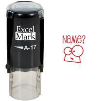Name? - ExcelMark Self-Inking Round Teacher Stamp - Red Ink