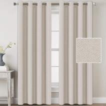 Linen Blackout Curtains 84 Inches Long for Bedroom / Living Room Thermal Insulated Grommet Curtain Drapes Primitive Textured Linen Burlap Effect Window Draperies 2 Panels - Ivory