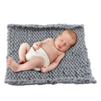 """Play Tailor Chunky Knit Blanket for Newborn Photography Props Baby Photo Backdrop Rugs Newborn Basket Filler (19.7""""x19.7"""", Grey)"""