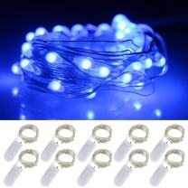 LXS Battery Operated Fairy Lights 10 Sets of 2M /20 LED,Amazingly Bright - Ultra-Thin Flexible Easy to Wrap Silver Wire for Halloween Christmas Wedding Party,Fairy Light Effect(10PCS-Blue)