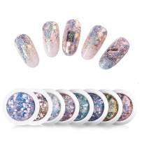Micup Holographic Nail Art Sticker Kit Iridescent Nail Sequins Mermaid Colorful Flakes Glitter Make Up for Nail Face Body Eyes - 8Colors