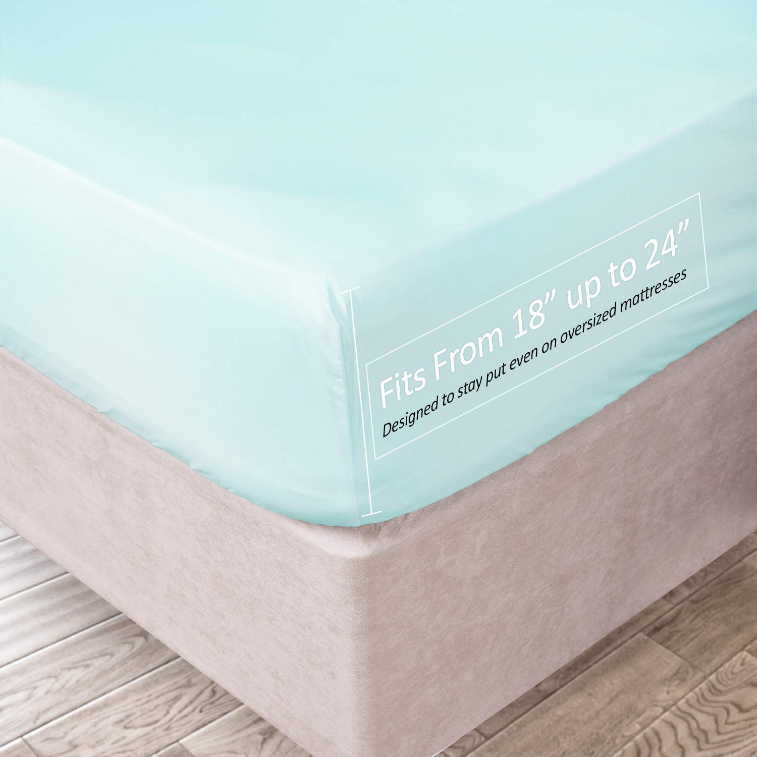 Clara Clark 21 Inch Deep Pocket Fitted Sheet 100% Soft Double Brushed Microfiber, Queen, Light Baby Blue
