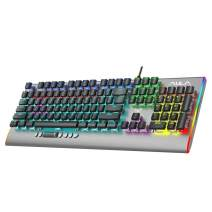 AULA F2099 Mechanical Gaming Keyboard, with Media Keys, RGB Rainbow Backlight, Slim Keycaps, Metal Panel, 104-Keys Anti-Ghosting Wired Gaming Keyboards for PC Laptop, Desktop Computer (Brown Switch)