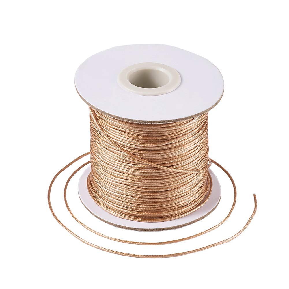 Pandahall 1Roll/93yards 1mm Thick Korean Waxed Cord Polyester Beading Synthetic Fibers Cord Thread for Jewelry Makings DarkGoldenrod