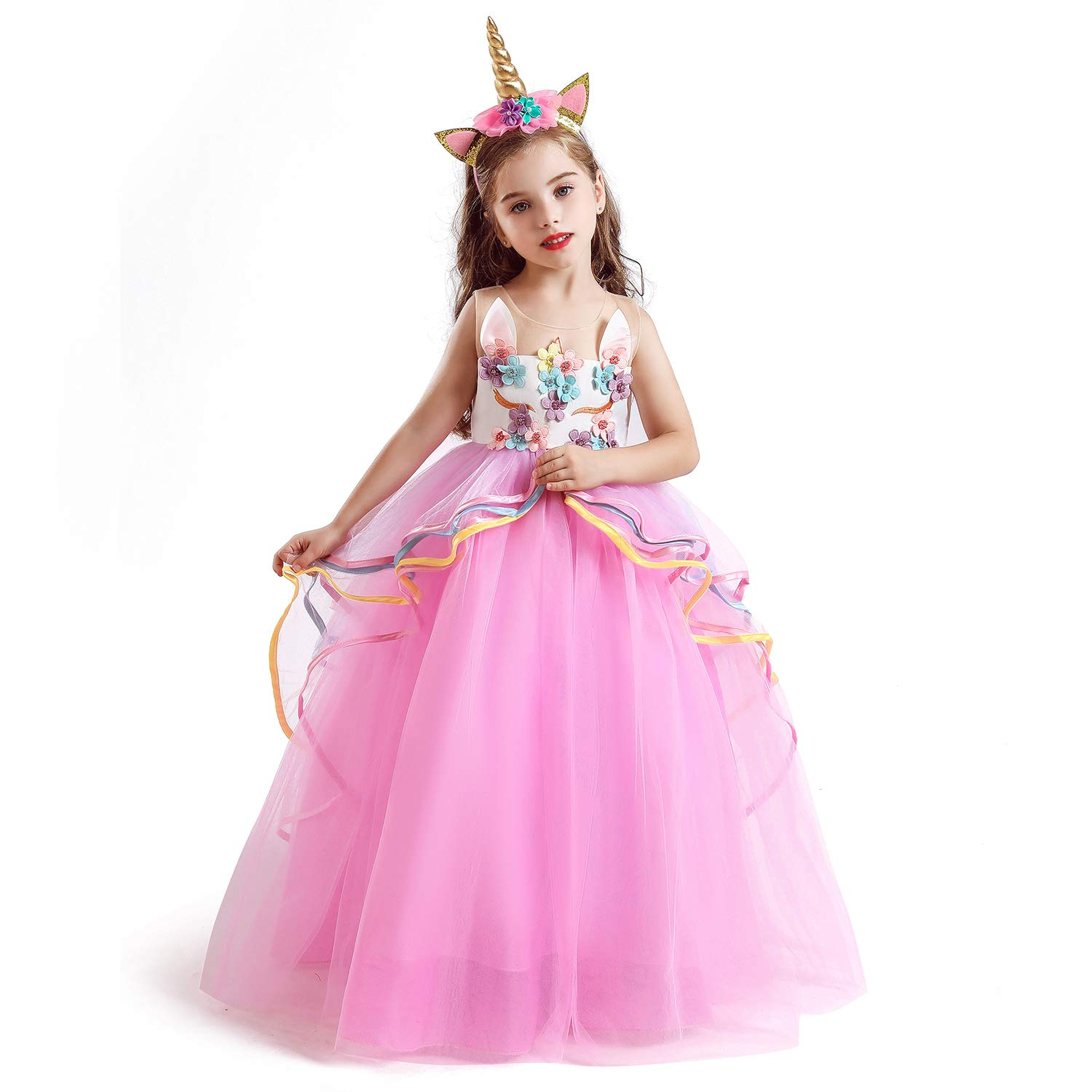 NNJXD Girls Unicorn Party Princess Long Dress Size (120) 4-5 Years Pink&