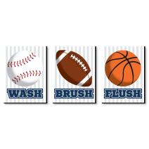 Big Dot of Happiness Go, Fight, Win - Sports - Kids Bathroom Rules Wall Art - 7.5 x 10 inches - Set of 3 Signs - Wash, Brush, Flush