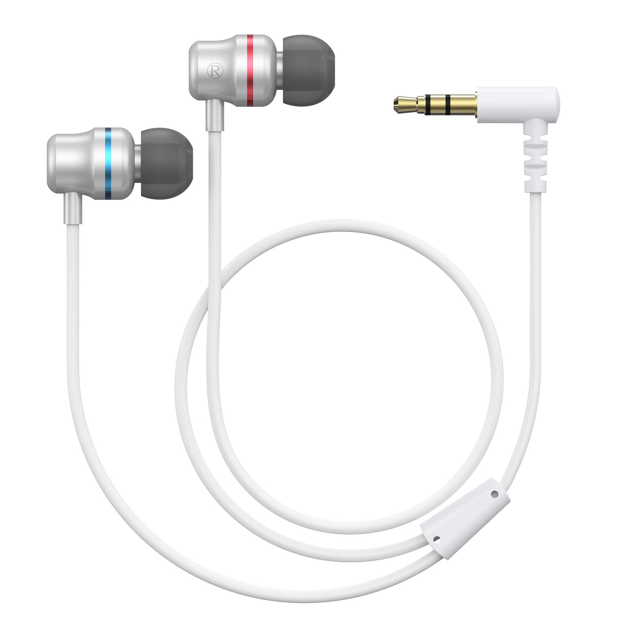 KIWI design Headphones for Oculus Quest 2 / Rift S VR Headset Noise-Isolating in-Ear Earphones with 3D 360 Degree Sound and Custom Silicone Earbuds Caps (White)