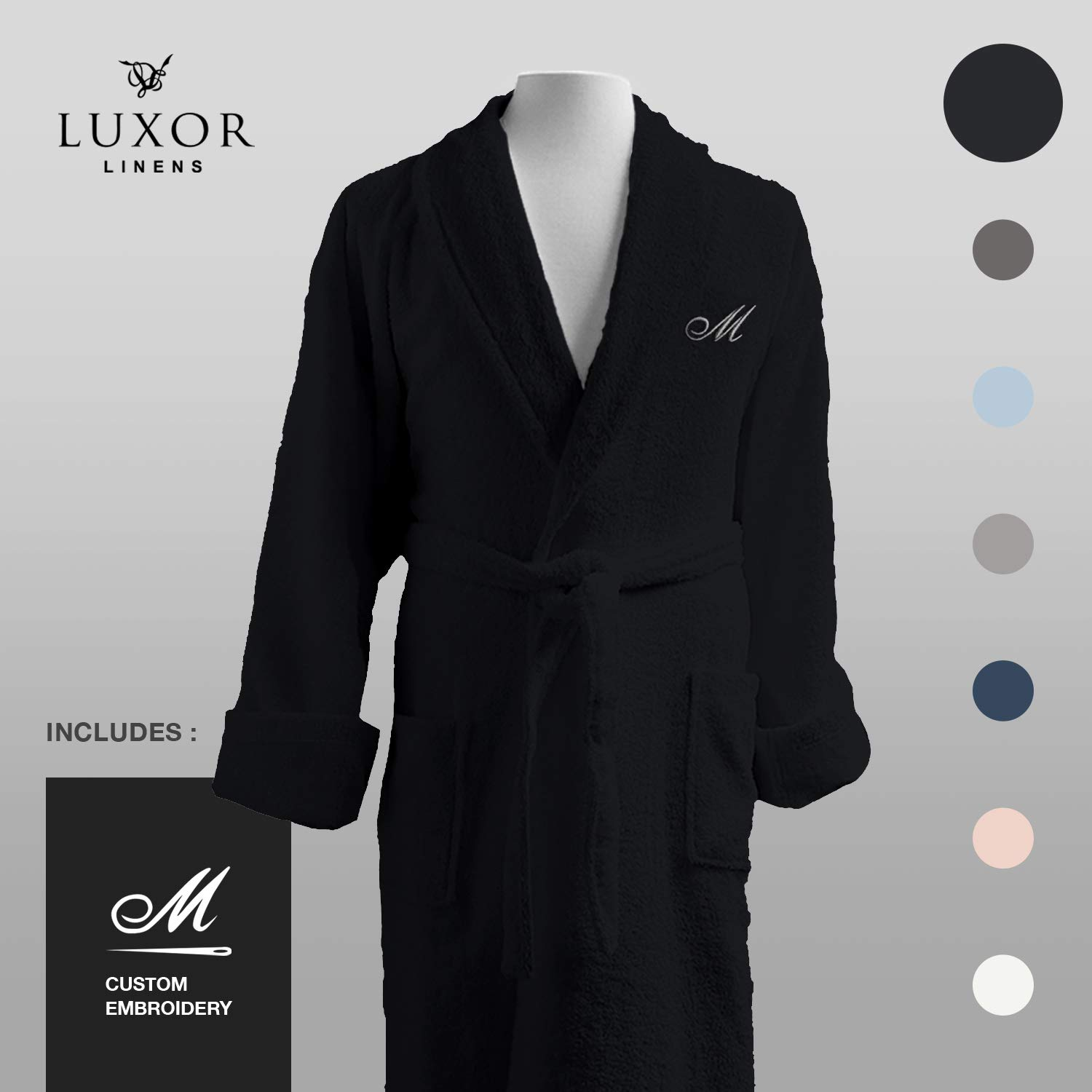 Luxor Linens - Terry Cloth Bathrobes - 100% Egyptian Cotton Bathrobe- Luxurious, Soft, Plush Durable Robe (Black, Custom)