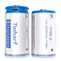 Twharf D Cell Batteries 1.5V/5000mAh D Batteries Micro USB and Type-C Rechargeable Lithium Ion D-Batteries (2 Pack) …