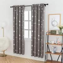 Anjee Room Darkening Curtains for Bedroom 84 Inch Long, Blackout Drapes with Star Pattern, 38 x 84 Inches, Grey