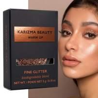 Warm Up Glitter Eyeshadow Biodegradable // Karizma Beauty Rose Gold Bio Glitter Eco Glitter Face Glitter Loose Eyeshadow