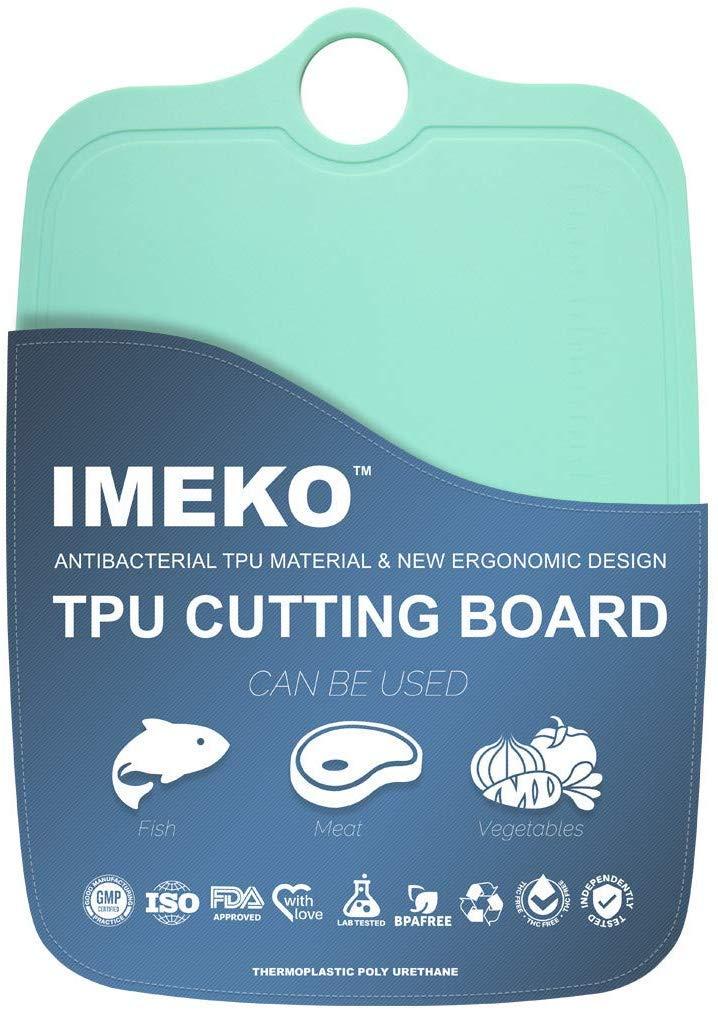 "IMEKO TPU Cutting Board,BPA FREE,Knife Friendly,Flexible,Dishwasher Safe, Space Saving,Ergonomic Design,Chopping Mat. (AQUA GREEN-Size: Medium: 13.7"" x 9.4""- W: 10 oz.)"