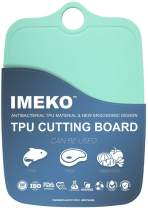 "IMEKO TPU Cutting Board,BPA FREE,Knife Friendly,Flexible,Dishwasher Safe, Space Saving,Ergonomic Design,Chopping Mat. (AQUA GREEN-Size: Medium: 13.7"" x 9.4""- W: 10 oz.)"