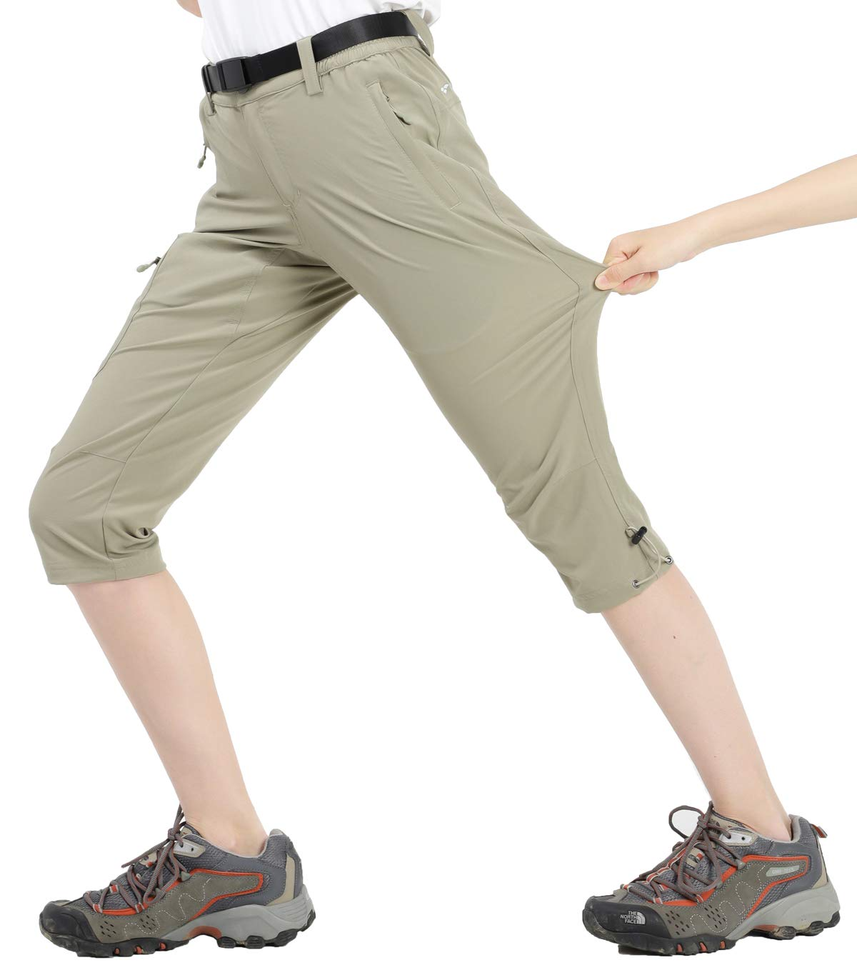 MIER Women's Quick Dry Outdoor Capri Pants Stretch Hiking Cargo Pants with 4 Pockets, Water Resistant and Lightweight