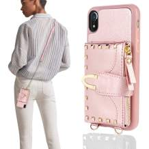 """iPhone XR Wallet Case 6.1"""" 2019, ZVE iPhone XR Case with Credit Card Holder Slot Crossbody Wallet Case with Wrist Strap Rivet Design Protective Case Cover for Apple iPhone XR, 6.1 inch - Rose Gold"""
